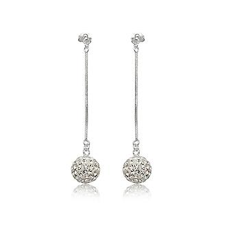 Women's earrings in white Crystal and Silver 925
