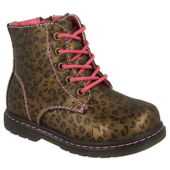 Spot On Baby Girls Lace Up Leopard Print Ankle Boots