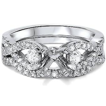 1/2ct Diamond Infinity Style Engagement Setting Set 14K White Gold
