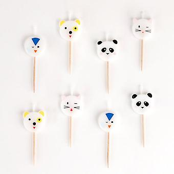 Mini Animals Birthday Party Candles Pack of 8 Cute Animals Cake Decoration