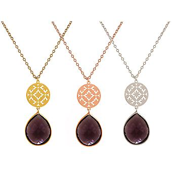GEMSHINE ladies necklace mandala with Amethyst gemstone. Rose gold 45 cm necklace or pendant made of silver, gold plated. Made in Madrid, Spain. Delivered in an elegant gift case.