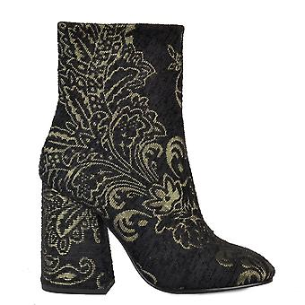 Ash Footwear Fedora Black And Gold Fabric Heeled Boot