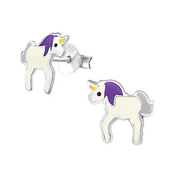 Unicorn - 925 Sterling Silver Colourful Ear Studs - W19636x