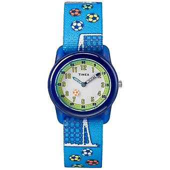 Timex Youth analoge blå rem fodbold TW7C165004E Watch