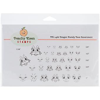 Peachy Keen Stamps Clear Face Assortment 32/Pkg-Dragon Family