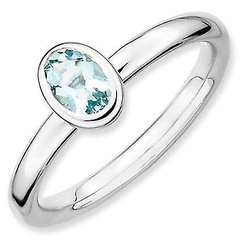 Sterling Silver Bezel Polished Rhodium-plated Stackable Expressions Oval Aquamarine Ring - Ring Size: 5 to 10
