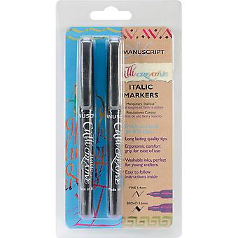 Manuscript CalliCreative Markers 1.4mm & 3.6mm 2/Pkg-Purple