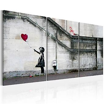 Tryck på duk - det finns alltid hopp (Banksy) - triptyk