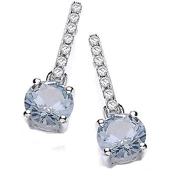 Cavendish French Round Zirconia Solitaire Drop Earrings - Silver/Blue
