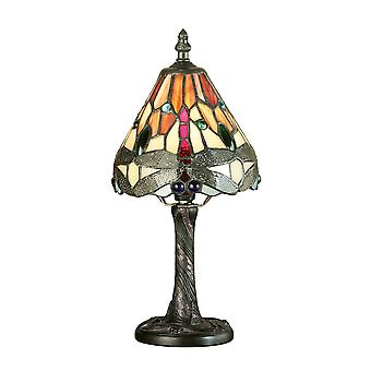 Interiør 1900 flamme Dragonfly Miniature Tiffany Bedside bordlampe
