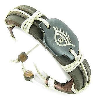 Amulet ægte læder justerbare armbånd med alle ser beskyttelse øje Symbol heldige charme