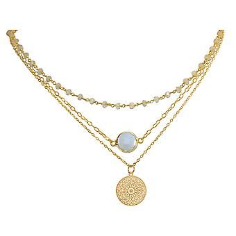 GEMSHINE necklace Choker with faceted moonstones and mandala dream catcher. 925 Silver or high-quality gold-plated. Quality of jewelry made in Munich / Germany