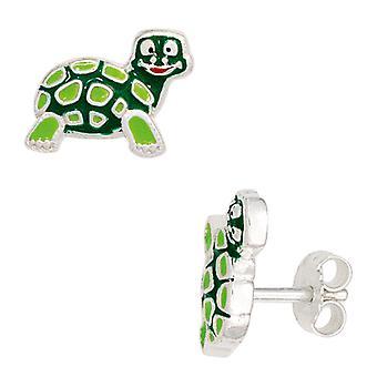 Children earrings TURTLE green 925 Sterling Silver earrings for girl children's jewellery