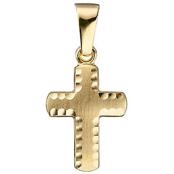 Anhänger Kreuz 585 Gold Gelbgold diamantiert matt Kreuzanhänger Goldkreuz