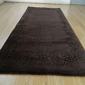 Rugs -Floral Border - Chocolate