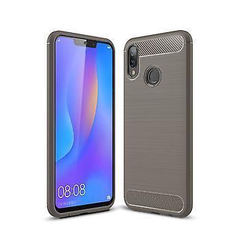 Huawei Nova 3i TPU caso carbono fibra óptica escovada cinza de capa de proteção