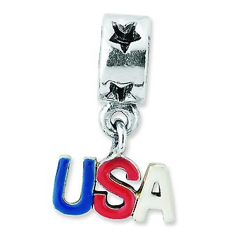 Sterling Silver Polished Reflections Enameled Usa Dangle Bead Charm