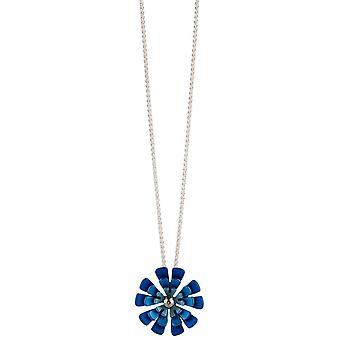 TI2 titanio doppia Ten petalo fiore pendente - blu