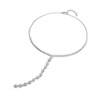 Cavendish franska Twenties stil Silver och CZ 'T' droppe halsband