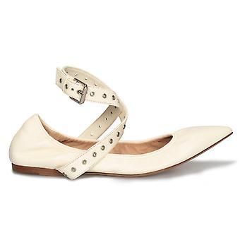 Valentino Love Latch Ballerina Flats in Off White