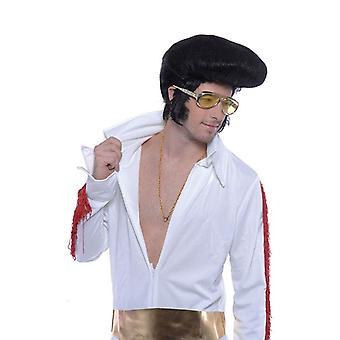 Elvis Perücke. Deluxe, hohe Haartolle.