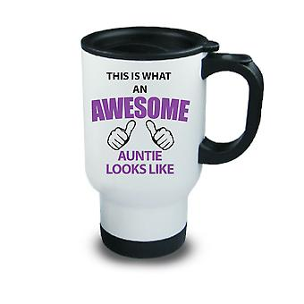 This Is What An Awesome Auntie Looks Like Metal Travel Mug