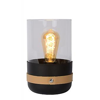 Lucide Centur Modern Tube Glass Black And Brown Table Lamp