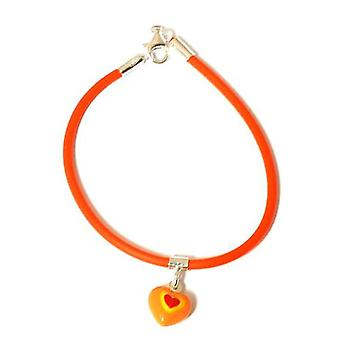 TOC Girls Sterling Silver Orange Puffed Heart Charm Resin Cord Bracelet 6