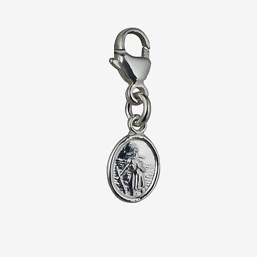 Silver 8x6mm oval St Christopher Charm on a lobster trigger