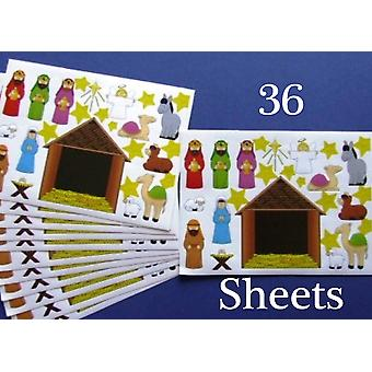 36 Christian Nativity Scene Sticker Sheets for Christmas Crafts