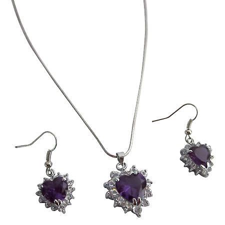 Valentine Xmas Gifts Holiday Gift Tanzanite Heart Pendant Earrings Set
