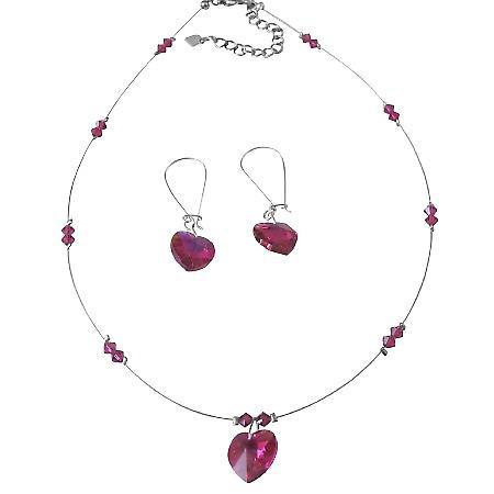 Truly Love Artisan Romantic Fuchsia Crystals Heart Pendant Jewelry