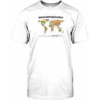 What Each Country Leads The World In - Cool Mens T Shirt