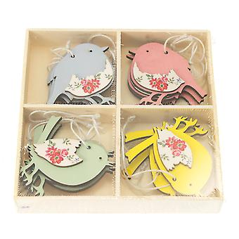 12 Small Pastel Colour Hanging Wood Birds for Easter Tree Decoration