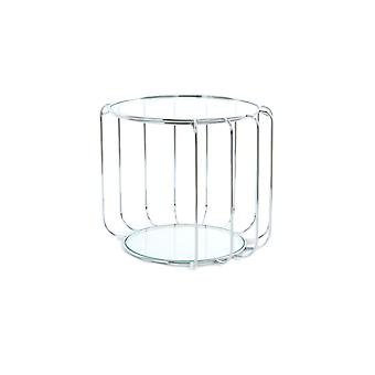Side table Chrome silver plate round glass