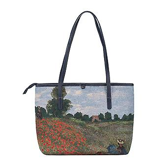 Monet - poppy field shoulder tote bag by signare tapestry / coll-art-cm-popfl