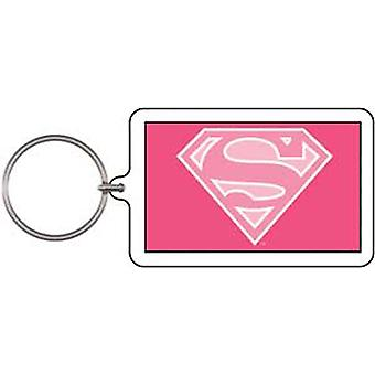 Key Chain - DC Comic - supergirl Pink Logo Lucite Licensed Gifts Toys k-dc-0021