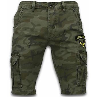 Men's short trousers-Slim Fit Army Stitched Shorts-Dark green