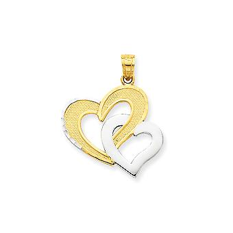 10k Yellow Gold Polished Textured back and Rhodium Double Heart Pendant - 1.3 Grams