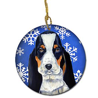 Basset Hound Winter Snowflake Holiday Ceramic Ornament LH9284