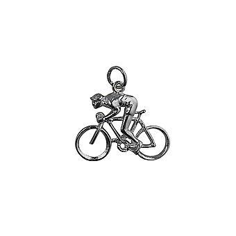Zilveren 18x25mm fiets en fietser hanger of Charm