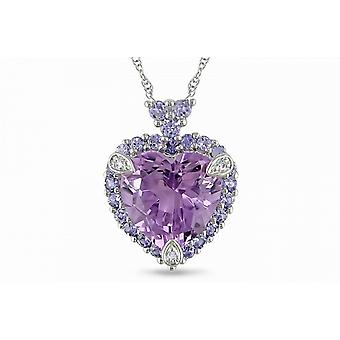 Affici 18ct White Gold Plated Sterling Silver Pendant with Chain ~ Heart Cut Amethyst CZ Gem