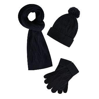 BadRhino Navy Cable Knit Hat Scarf & Gloves Set