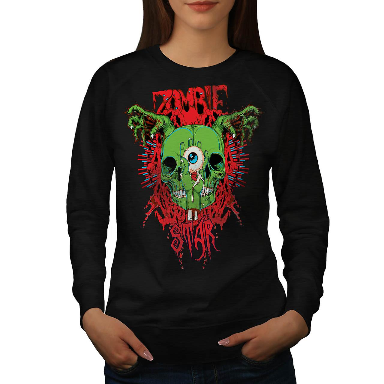 Monster Zombie Evil Star Night Women Black Sweatshirt | Wellcoda