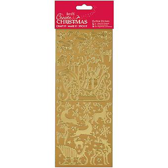 Papermania kerst Outline Stickers-Gold Sleigh Ride PM810915 maken