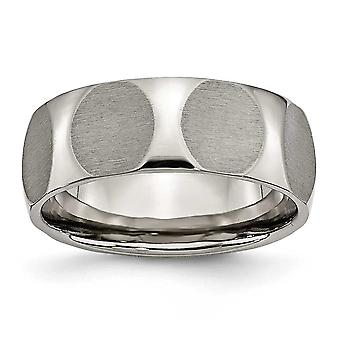 Titanium Faceted 8mm Satin Band Ring - Size 12.5