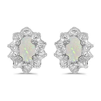 10k White Gold 5x3 mm Genuine Opal And Diamond Earrings