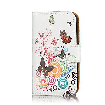 Design Book Leather Case Cover for Samsung Galaxy S3 mini i8190 - Colour Butterfly