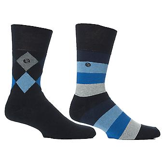 Mens Blue Mix Cushion Foot Honeycombe Top Gentle Grip Sock By Sock Shop 2pk