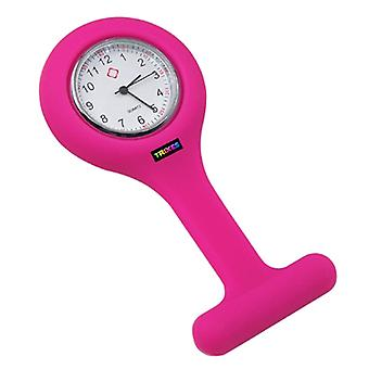 TRIXES sygeplejersker mørk Pink Gel silikone plastlomme broche Fob ur nyt